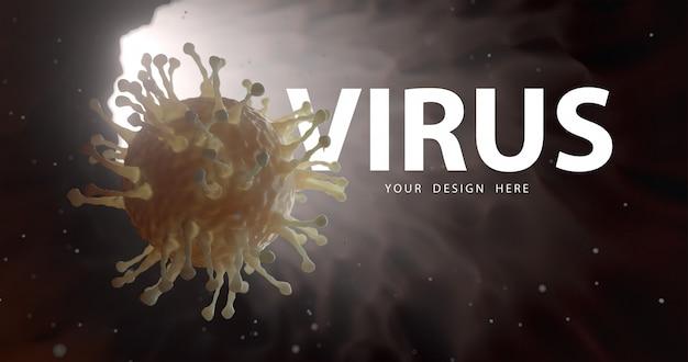 Primo piano di protezione microscopica del virus e del virus