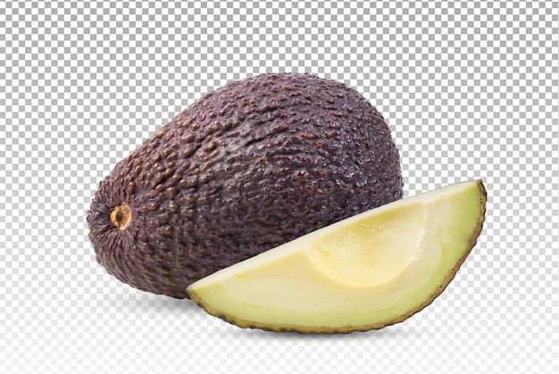 Primo piano su avocado con fetta isolata