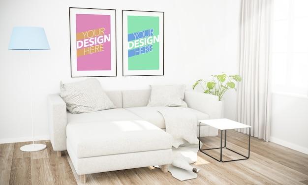 Primo piano su fotogrammi mockup sulla parete con piante
