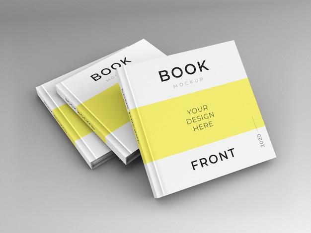 Primo piano sul mockup di copertina di libri quadrati