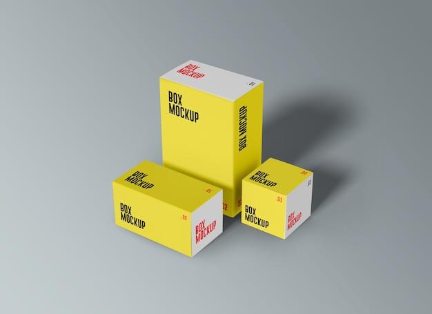 Primo piano sul mockup di scatole del prodotto