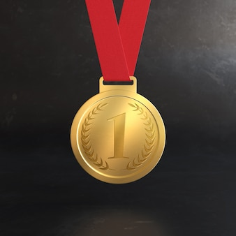 Primo posto premio medaglia d'oro mockup