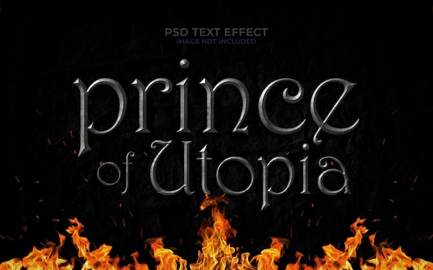 Prince of utopia text effect mockup Premium Psd