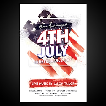 Print ready cmyk 4 juli-poster met bewerkbare objecten