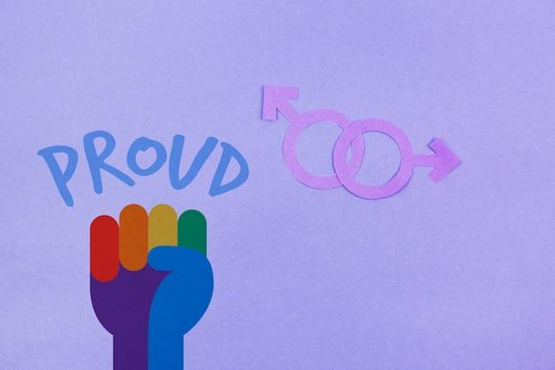 Priorità bassa di gay pride con la bandiera arcobaleno