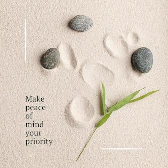 Priorizar la paz bienestar plantilla psd publicación mínima en redes sociales