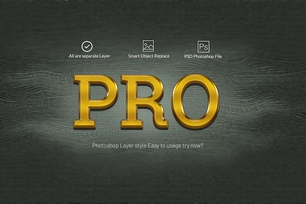 Pro gold 3d efectos de texto