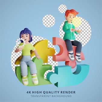 Probleemoplossend denken en teamwork samenwerking 3d hoge kwaliteit render illustratie