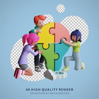 Probleemoplossing en teamwork samenwerking 3d hoge kwaliteit render illustratie