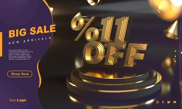 Procent 11 gouden verkoopbannersjabloon boven gouden voetstuk met donkere achtergrond