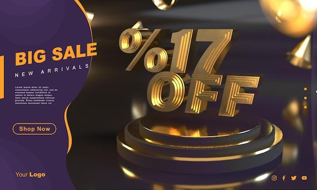 Procent 17 gouden verkoopbannersjabloon boven gouden voetstuk met donkere achtergrond
