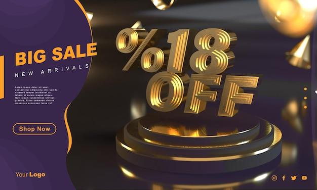 Procent 18 gouden verkoopbannersjabloon boven gouden voetstuk met donkere achtergrond