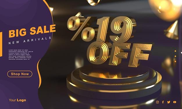 Procent 19 gouden verkoopbannersjabloon boven gouden voetstuk met donkere achtergrond
