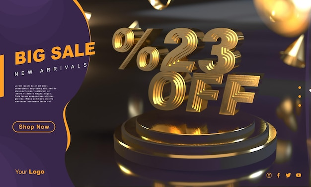 Procent 23 gouden verkoopbannersjabloon boven gouden voetstuk met donkere achtergrond