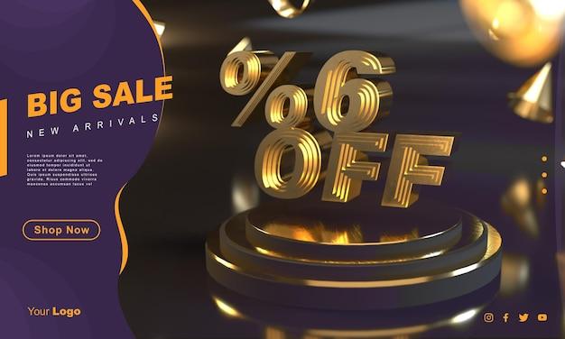 Procent 6 gouden verkoopbannersjabloon boven gouden voetstuk met donkere achtergrond