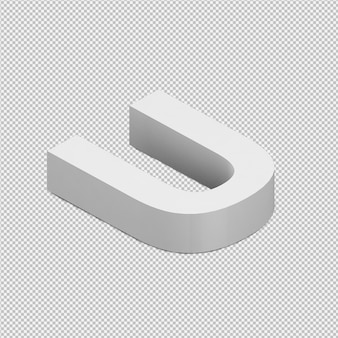 Procesamiento 3d isométrico del alfabeto aislado