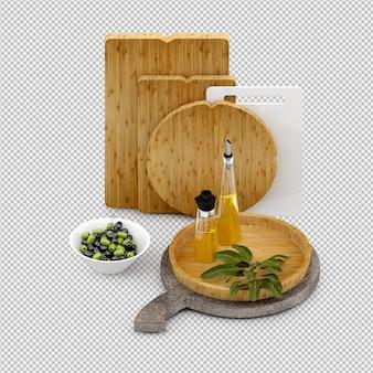 Procesamiento 3d isométrico de verduras aislado
