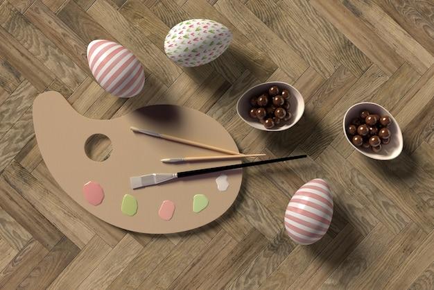 Proceso de pintura de huevos para pascua