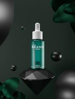 Prodotti cosmetici premium idratanti per la cura della pelle con il verde.