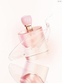 Prodotto di bellezza con spruzzi d'acqua rosa