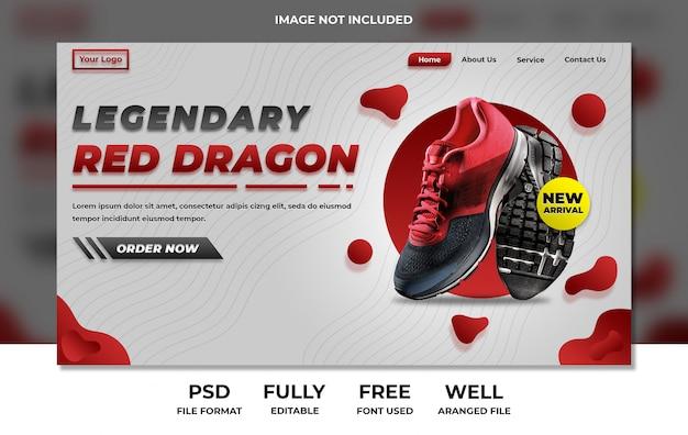 Prodotto sportivo della pagina di destinazione del sito web che mostra rosso e bianco