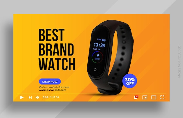 Productbeoordeling youtube-miniatuur of slimme horloge-verkoopwebbannersjabloon