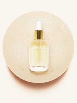 Producto de belleza en bola de miel. ilustración 3d