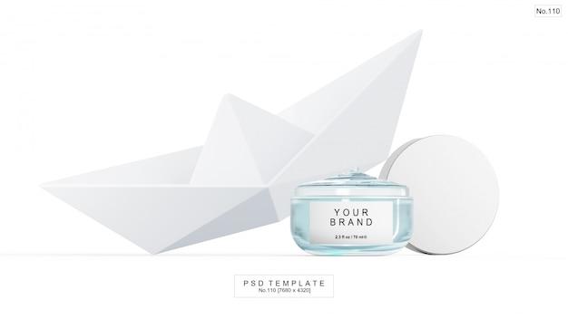 Producto de belleza en gel azul con barco de papel. render 3d