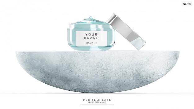 Producto de belleza en gel azul con piedra semicircular. render 3d
