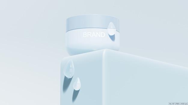 Producto de belleza en podio azul con burbuja de agua.