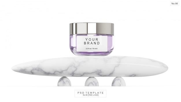 Producto de belleza púrpura con piedra de mármol. render 3d