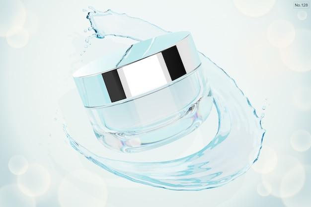 Producto de belleza con salpicaduras de agua. render 3d