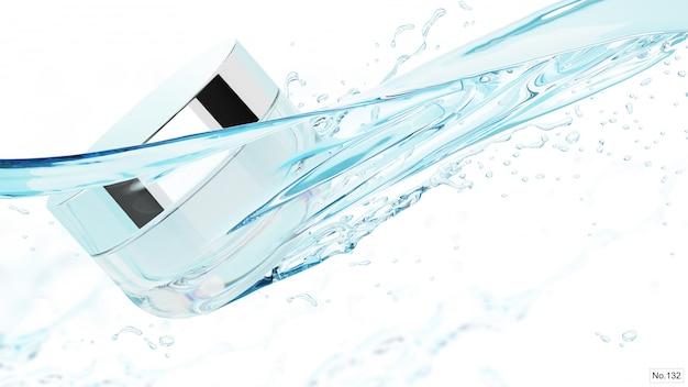Producto cosmético con salpicaduras de agua en blanco. render 3d