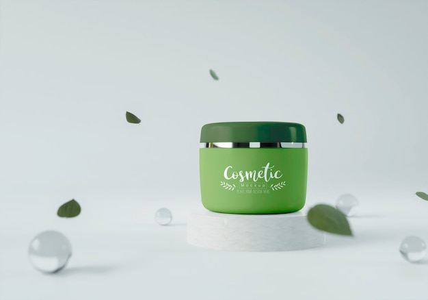 Producto cosmético en un soporte con hojas.