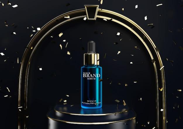 Producto para el cuidado de la piel en suero en el escenario del podio para la celebración de premios