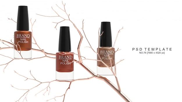 Producto de esmalte de uñas con árbol de cobre. maqueta de embalaje. render 3d