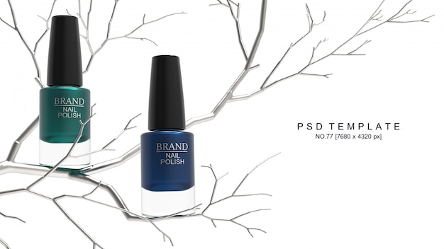Producto de esmalte de uñas con árbol de metal. maqueta de embalaje. render 3d