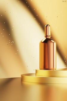 Producto de lujo en podio de oro