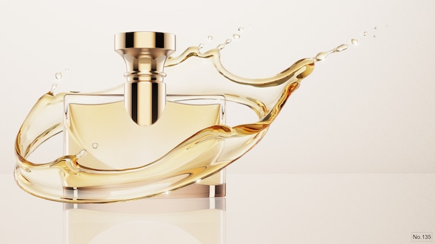 Producto de lujo con salpicaduras de agua amarilla. render 3d