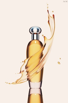 Producto de lujo con salpicaduras de agua amarilla.