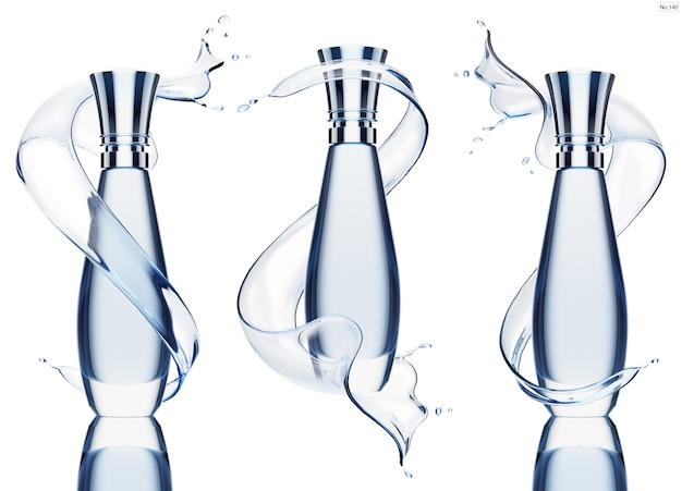 Producto de lujo con salpicaduras de agua azul.