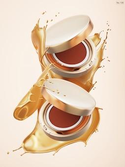 Producto de lujo con salpicaduras de agua dorada