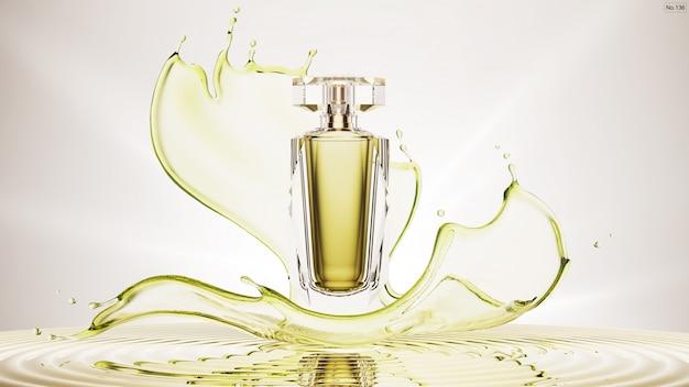 Producto de lujo con salpicaduras de agua verde.