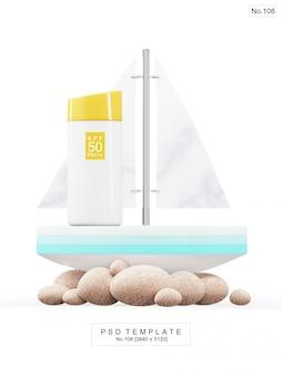 Producto de protección solar uv con barco de juguete. render 3d