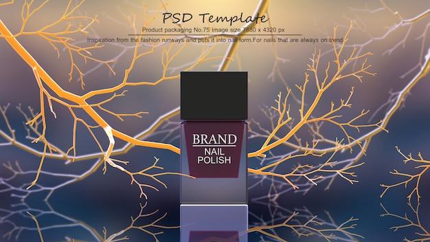 El producto rojo del esmalte de uñas en el fondo amarillo de los árboles 3d rinde