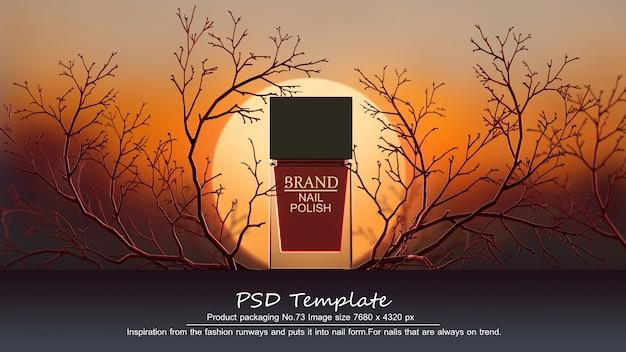 El producto rojo del esmalte de uñas en el fondo rojo de los árboles 3d rinde