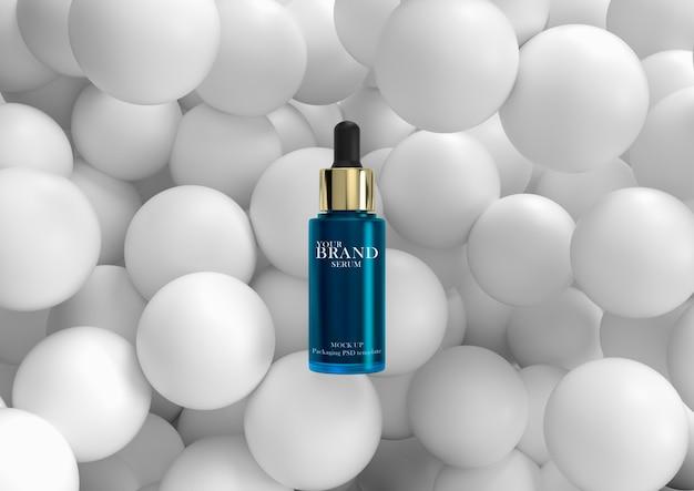 Productos cosméticos de primera calidad para el cuidado de la piel con superficie geométrica.