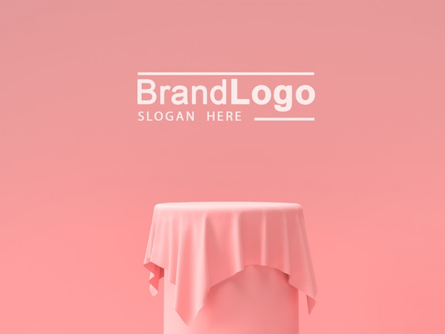 Productstandaard en roze tafelkleed