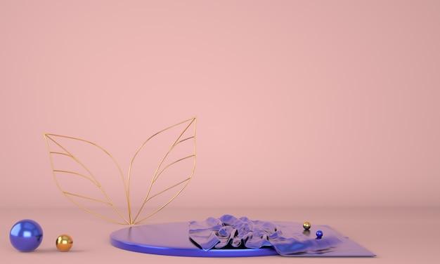 Productvertoning podium versierd met bladeren in 3d illustratie