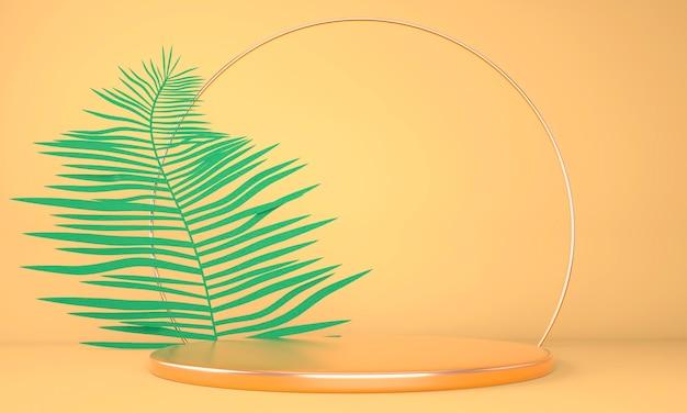 Productvertoningspodium versierd met bladeren op pastelachtergrond, 3d illustratie